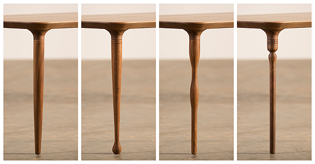 4 different legs for one table are the main feature of Pasha table (Artisan) designed by Zoran Jedrejcic, Croatian designer with Italian professional background.
