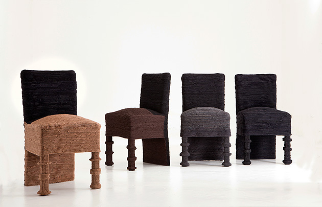 HulaHula (Data by Despot) has typically classical construction of the chair clad in an innovative textile structure created by knitting production-reject nylons. Design: Svjetlana Despot. Photo: Saska Mutic.