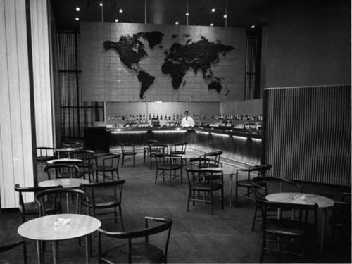 The design and furnishing of the original space is credited to the Harrison & Abramovitz, with particular leadership by Abel Sorensen within the firm. At its innauguration, and for many decades to follow, the lounge featured contemporary European furnishings by designers Hans Wegner, Jacob Kjaer, Peter Hvidt, Orla Mølgaard, and Nanna Ditzel. (Courtesy UN).